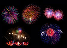 Fireworks Against a Black Sky Stock Photography