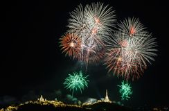 Fireworks Against a Black Sky Royalty Free Stock Photo