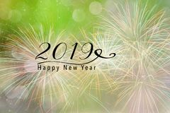 2019 New Year background for Social media. Fireworks against a lime green background with bokeh and falling snow effect. Happy New Year 2019 quote Royalty Free Stock Photography