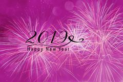2019 New Year background for Social media. Fireworks against a pink background with bokeh and falling snow effect. Happy New Year 2019 quote Royalty Free Stock Image