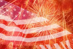 Fireworks against United States flag Royalty Free Stock Photography