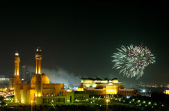 Fireworks in Al Fateh Corniche Royalty Free Stock Photography