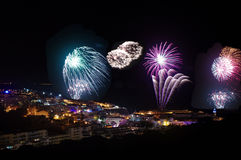 Fireworks. Albufeira's town holiday celebrated with fireworks (2014 royalty free stock photo