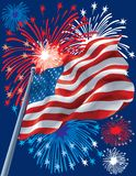 Fireworks and American Flag Stock Photos