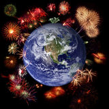 Fireworks around Earth, celebration time Royalty Free Stock Photography
