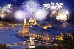 Fireworks Around Hungarian Parliament- New Year Destination, Budapest Stock Photo