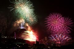 Fireworks At New Years`s Eve At Sydney Harbour, Asutralia Stock Photography