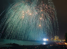Fireworks At Tenerife Beach Over Atlantic, Spain Royalty Free Stock Photo