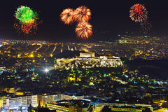 Fireworks in Athens Greece Royalty Free Stock Photography