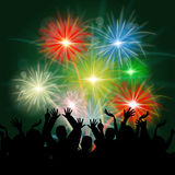 Fireworks Audience Shows Group Of People And Celebrate. Fireworks Audience Indicating Group Of People And Night Sky Royalty Free Stock Image