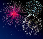 Fireworks background. Vector fireworks background with three types of fireworks Stock Photography