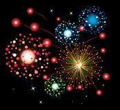 Fireworks background. Vector fireworks background of easily rearranged elements Royalty Free Stock Photo