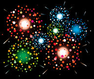 Fireworks background. Vector fireworks background of easily rearranged elements Stock Photos