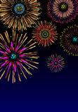 Fireworks background. Majestic firework on black sky Royalty Free Stock Photo