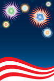 Fireworks Background. Illustration featuring stars, stripes and fireworks, perfect for any patriotic holiday Royalty Free Stock Photography