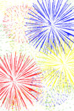 Fireworks Background. Red, yellow, green and blue fireworks on white blackground Royalty Free Stock Photography