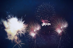 Fireworks background. Abstract fireworks New Years Eve celebration background royalty free stock images