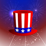 Fireworks background with American uncle sam hat and fireworks on dark sky. Vector illustration Royalty Free Stock Images