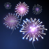 Fireworks background on blue. Fireworks on dark blue sky. Holiday  background Royalty Free Stock Photography