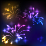 Fireworks background. Colorful fireworks, abstract holiday background Stock Image