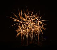 Fireworks background. Colorful fireworks isolated in dark background. royalty free stock photo