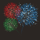 Vector fireworks background. Vector colorful grunge anniversary fireworks background stock illustration