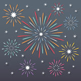 Fireworks background. Colorful paper exploding fireworks on dark night background Royalty Free Stock Image