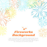 Fireworks Background. Colorful Salute on White. Royalty Free Stock Photography