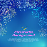 Fireworks Background. Colorful Top Frame on blue Stock Photo