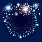 Fireworks background with copy space. Vector illustration Stock Photography