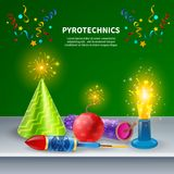 Festive Pyrotechnics Background Composition. Fireworks background with editable text and decorative images of colourful confetti sparklers firecrackers and party Stock Image