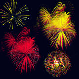 Fireworks. Background with exploding colorful lights on black Royalty Free Stock Image