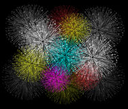 Fireworks background for happy new year. Beautiful Vector Fireworks for happy new year Stock Image