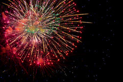 Fireworks background. Fireworks night colorful greetings card background Stock Image