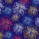 Fireworks background pattern. With gold red and blue Stock Image