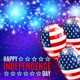 Fireworks background for 4th of July. Happy independence day. Fireworks, balloons and lettering background for 4th of July Stock Images
