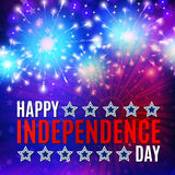 Fireworks background for 4th of July. Happy independent day. Fireworks and lettering background for 4th of July Royalty Free Stock Image
