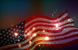 Fireworks background for 4th of July. Independense Day stock illustration