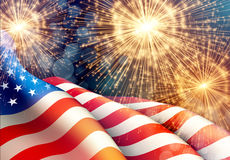 Fireworks background for 4th of July Independense Day with american flag. Vector illustration. EPS10 royalty free illustration