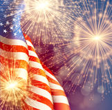 Fireworks background for 4th of July Independense Day with american flag. Vector illustration. EPS10 Vector Illustration