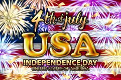 Inscription Happy independence day on usa flag. gold balloon vector firework. Fireworks background for 4th of July Independense Day vector illustration