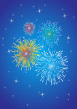 Fireworks Background. Vector illusrtation of fireworks designs on a blue sky background Royalty Free Stock Photo