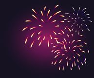 Fireworks Background violet. Happy New Year Greeting Cards Stock Photos