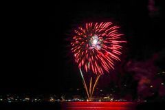 Fireworks in Bad Wiessee, Lake Tegernsee Royalty Free Stock Photos