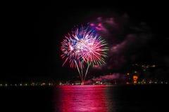 Fireworks in Bad Wiessee, Lake Tegernsee Royalty Free Stock Image