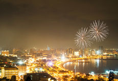 Fireworks in Baku. Fireworks at night in Baku, Azerbaijan Stock Image