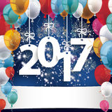 2017 Fireworks Balloons Banner. 2017 with colored balloons and fireworks on the blue background stock illustration