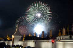 Fireworks in Bangkok #2. A beautiful display of fireworks at royal temple in Bangkok Thailand royalty free stock photos
