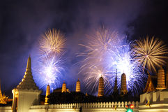 Fireworks in Bangkok #6. A beautiful display of fireworks at royal temple in Bangkok Thailand stock image