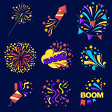 Fireworks Bangs Collection on Dark Blue Background. Fireworks bangs collection of logos on dark blue. Vector poster of exploding pyrotechnics and rockets Stock Photography